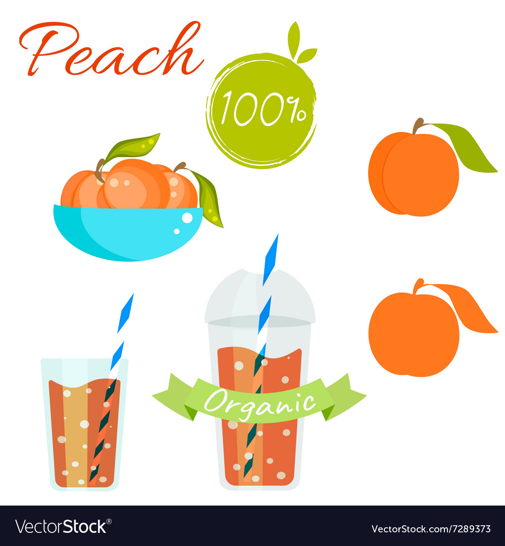 Peach fruit and juice set vector