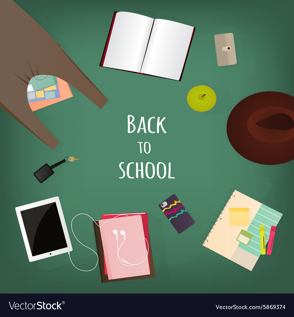 Back to school supplies books and blackboard vector