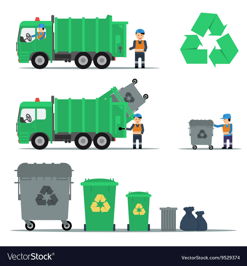 Garbage recycling set vector