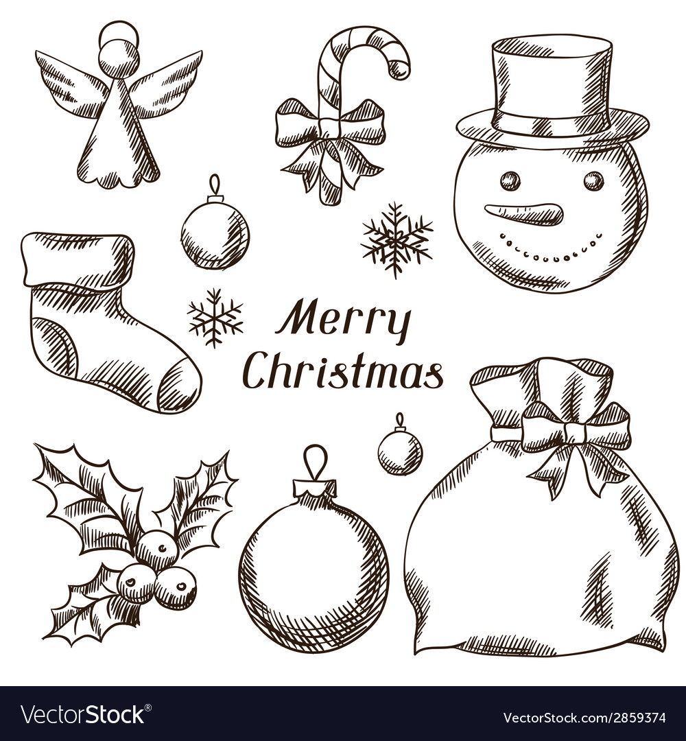 Set of merry christmas hand drawn icons and vector