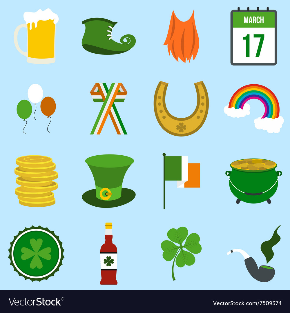 St patrick day flat icons vector