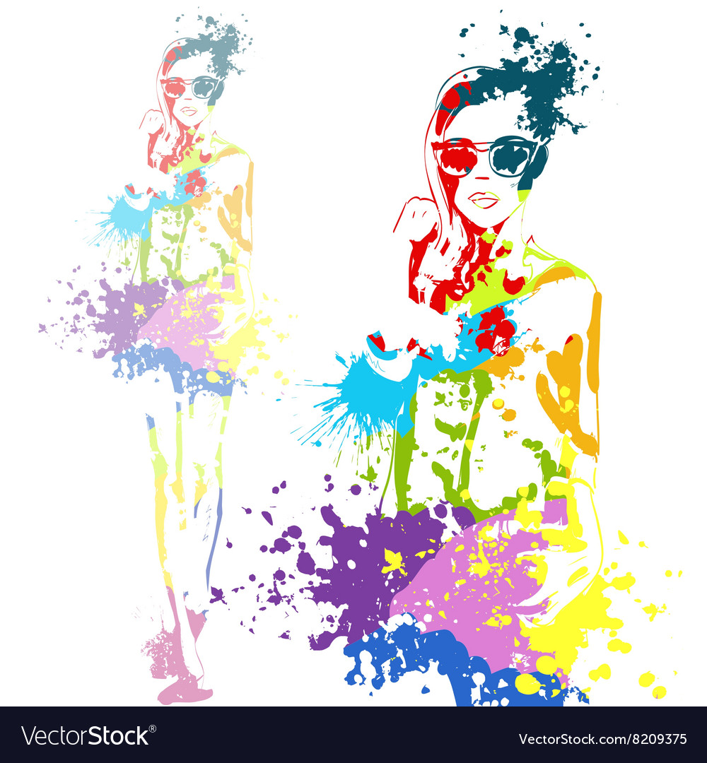 Fashion look girl with color splashes vector