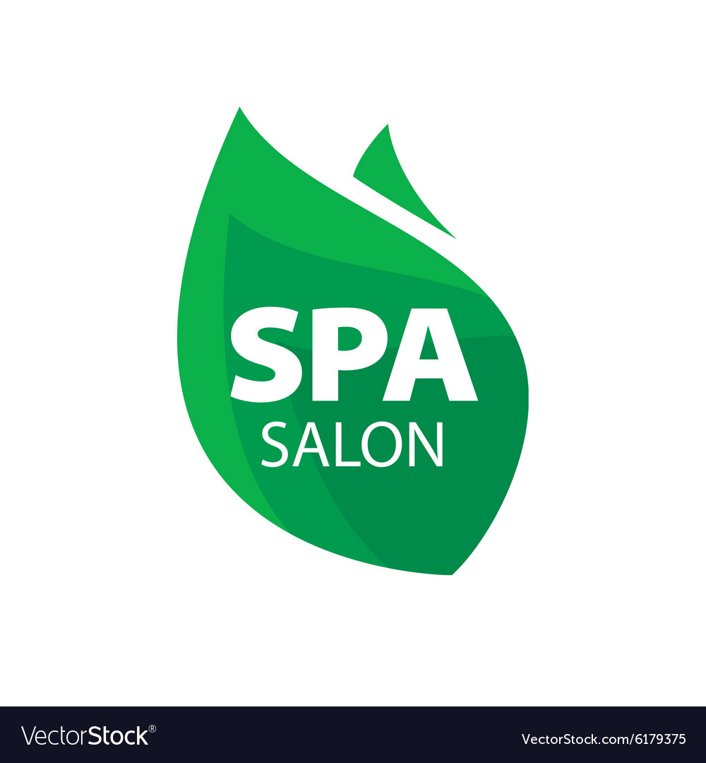 Logo green leaf for spa salon vector