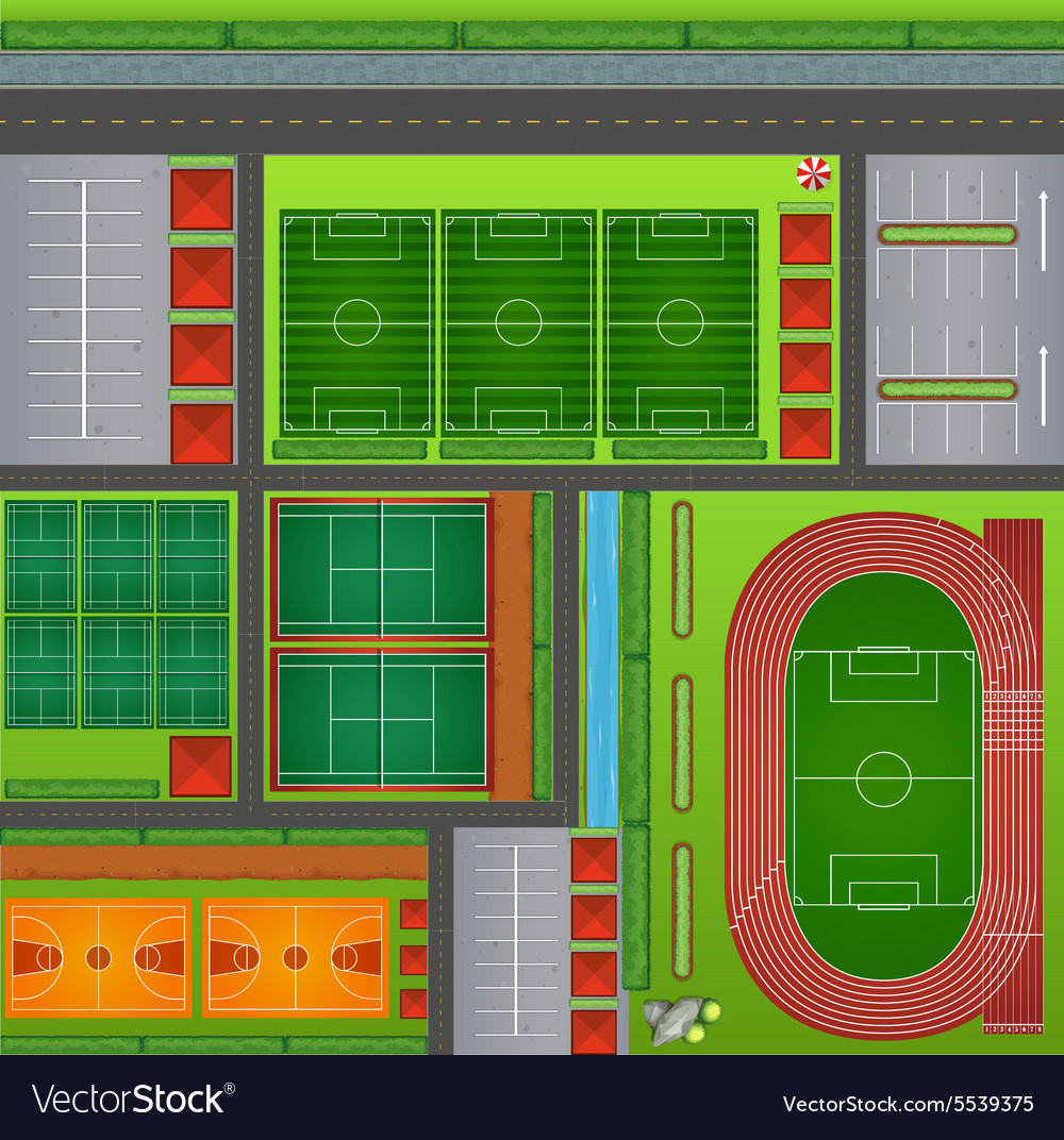 Sport club with courts and feilds vector