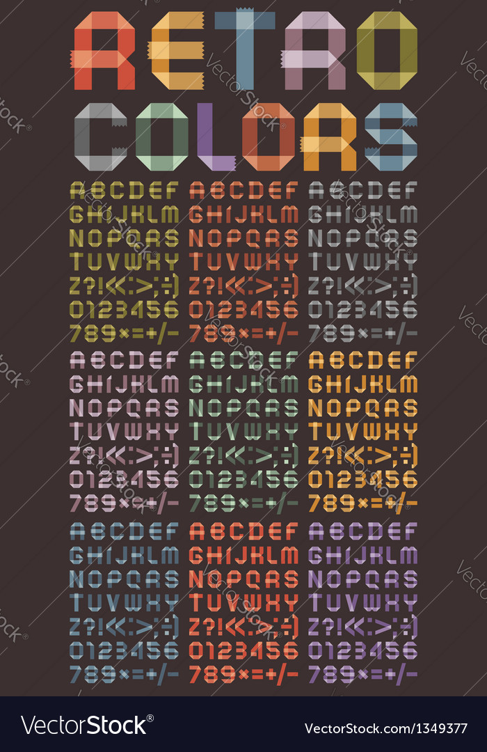 Font from colored scotch tape vector
