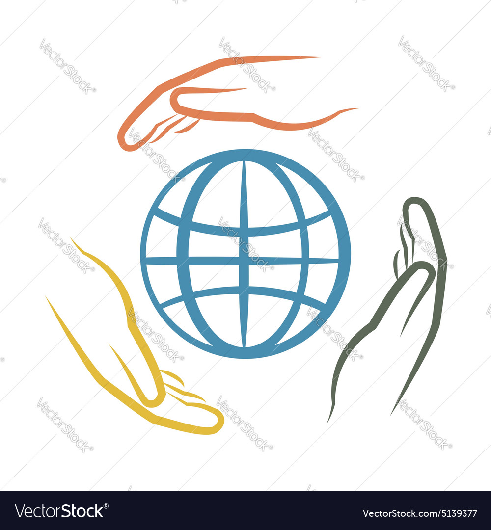 Hands and earth vector