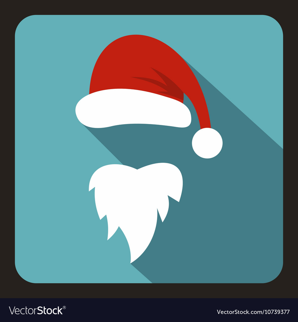 Red hat and long beard of santa claus icon vector