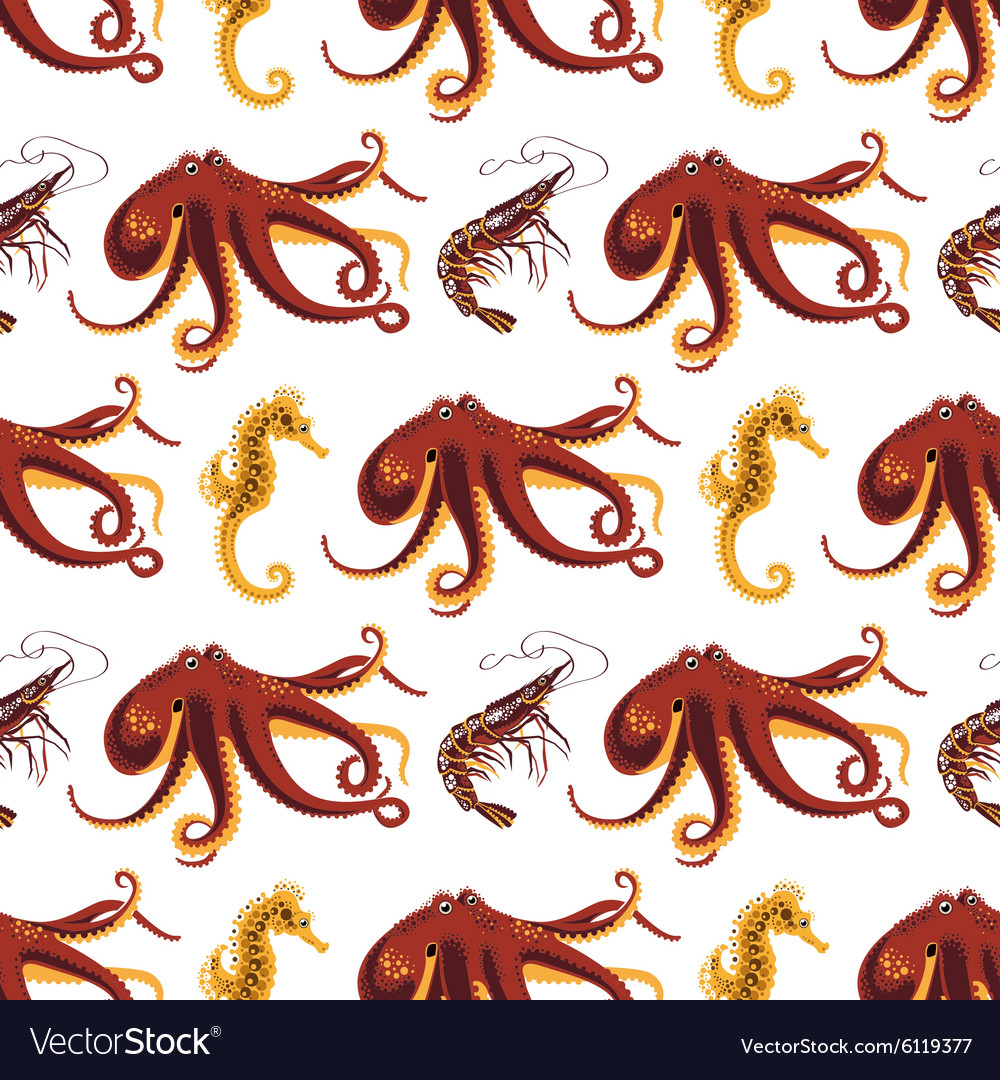 Seamless pattern on a animals oceans and seas vector