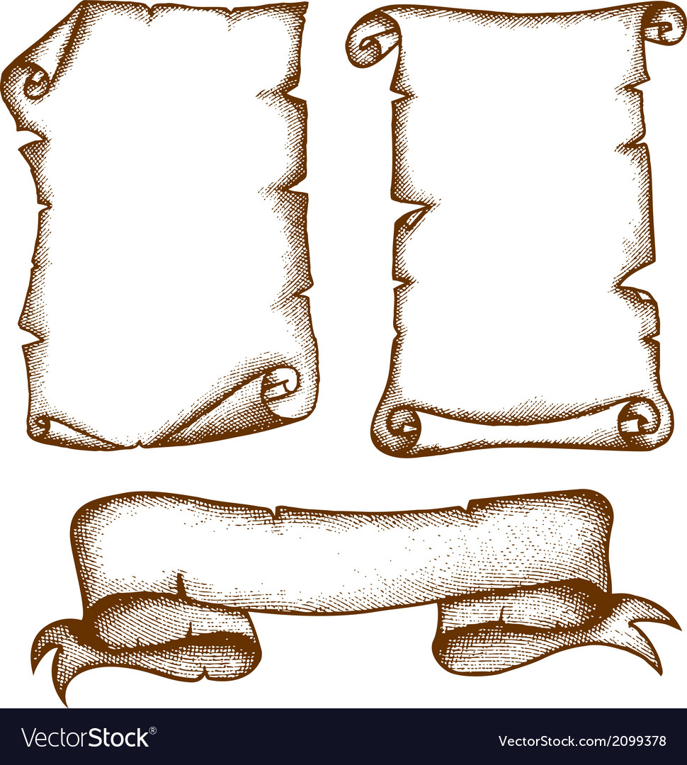 Handdrawn scrolls vector