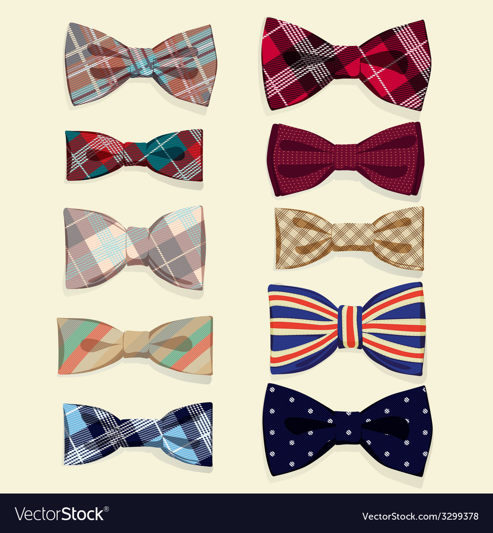 Set of bowties vector