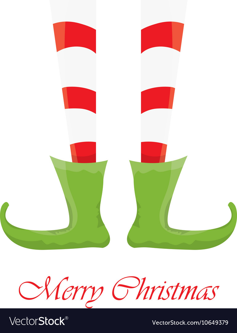 Christmas cartoon elfs legs on white background vector