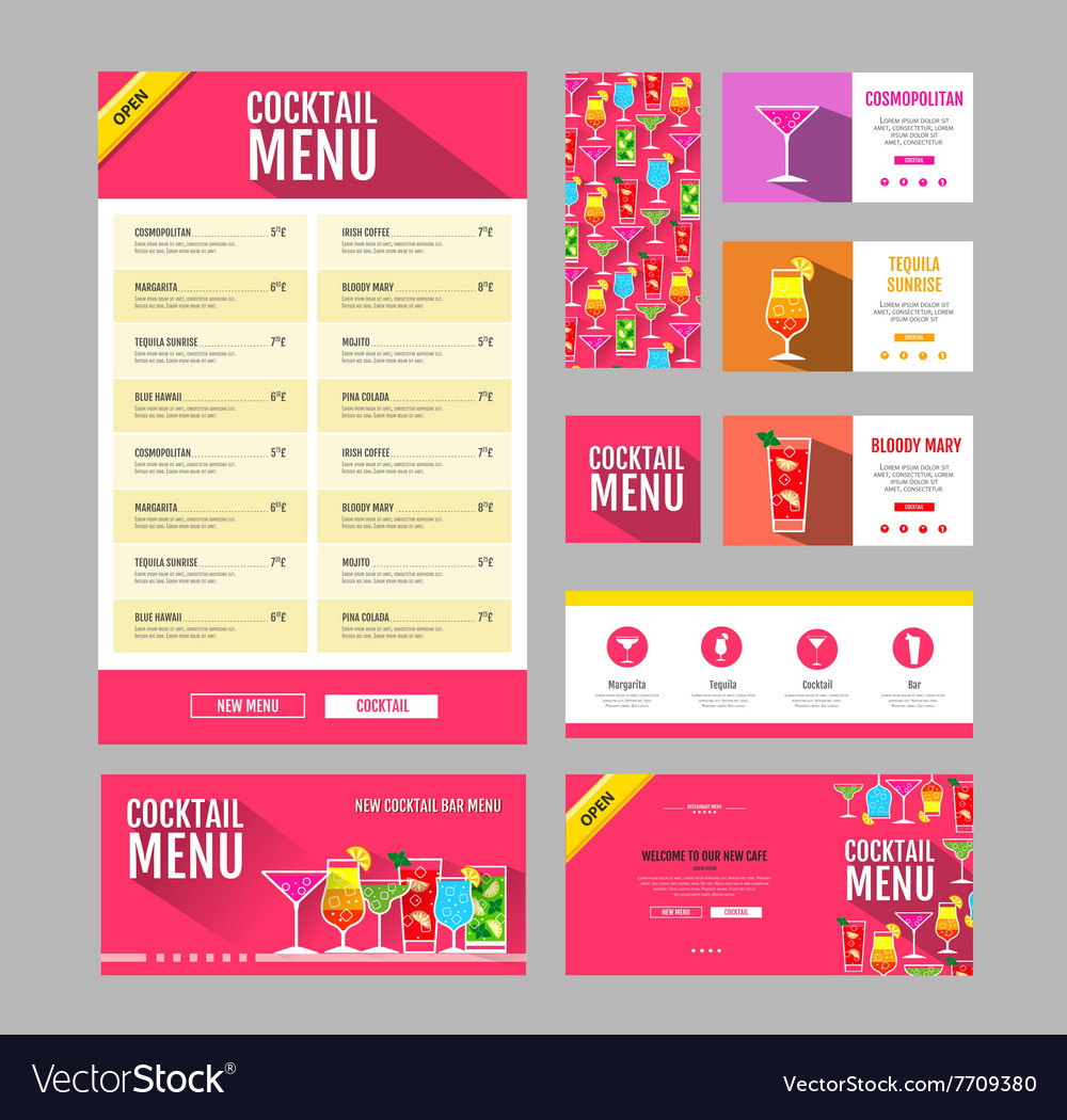 Flat style cocktail menu design document template vector
