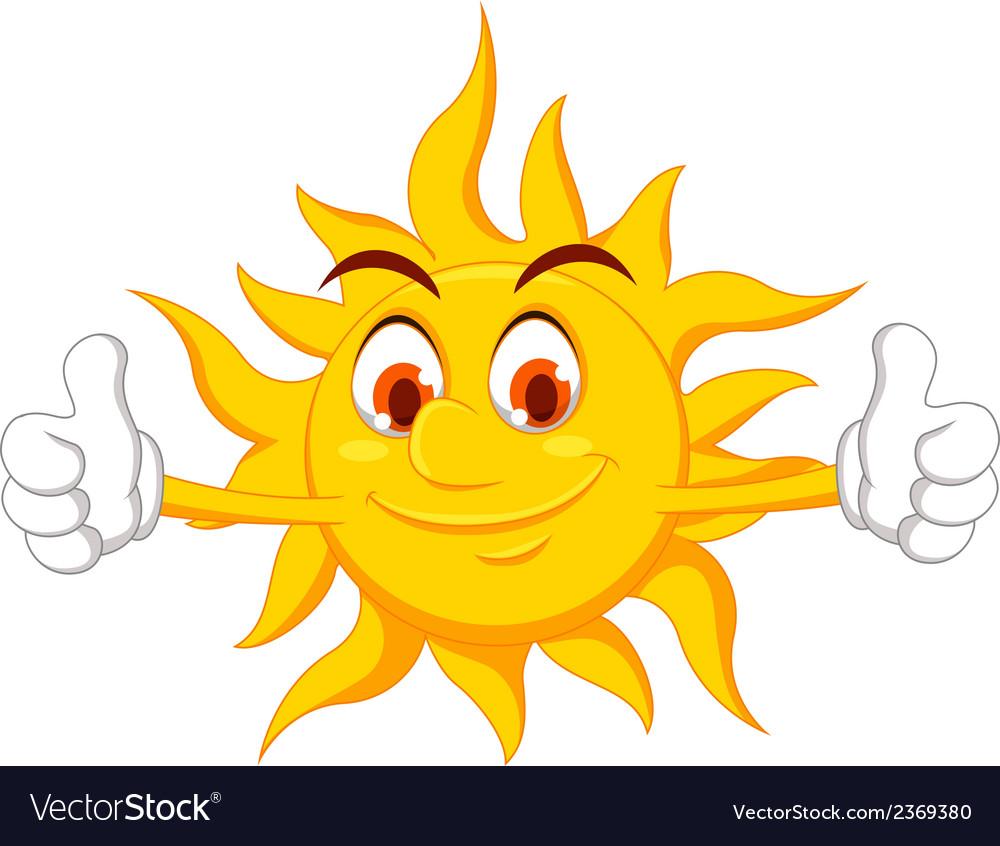 Funny sun cartoon thumb up vector