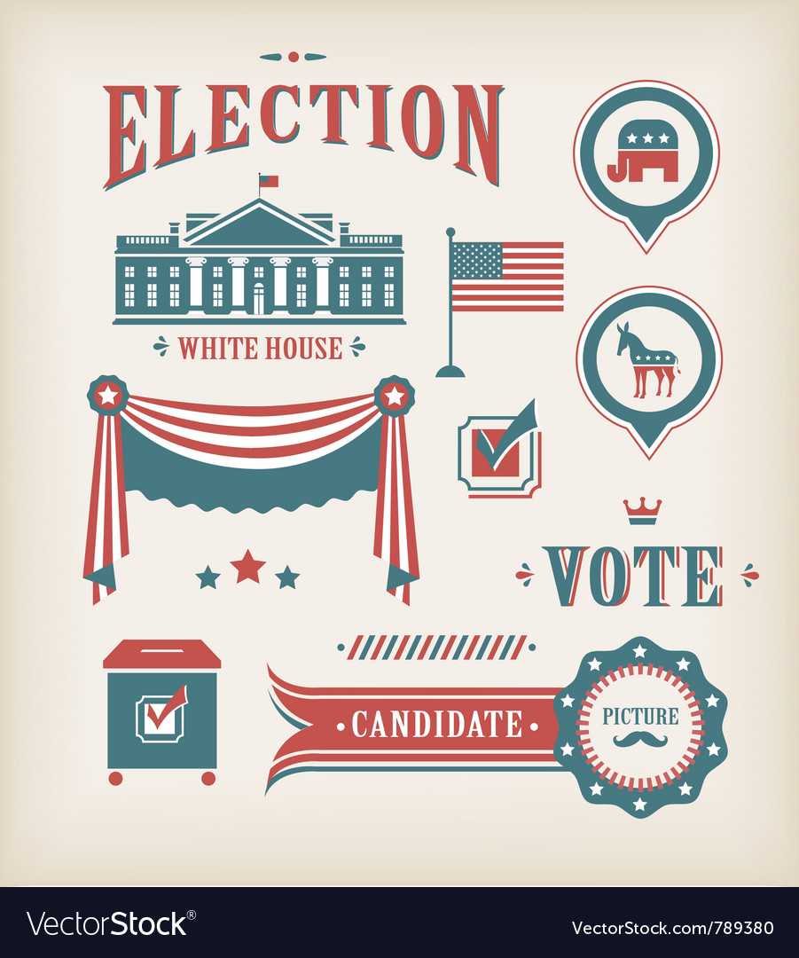 Usa election icon set vector
