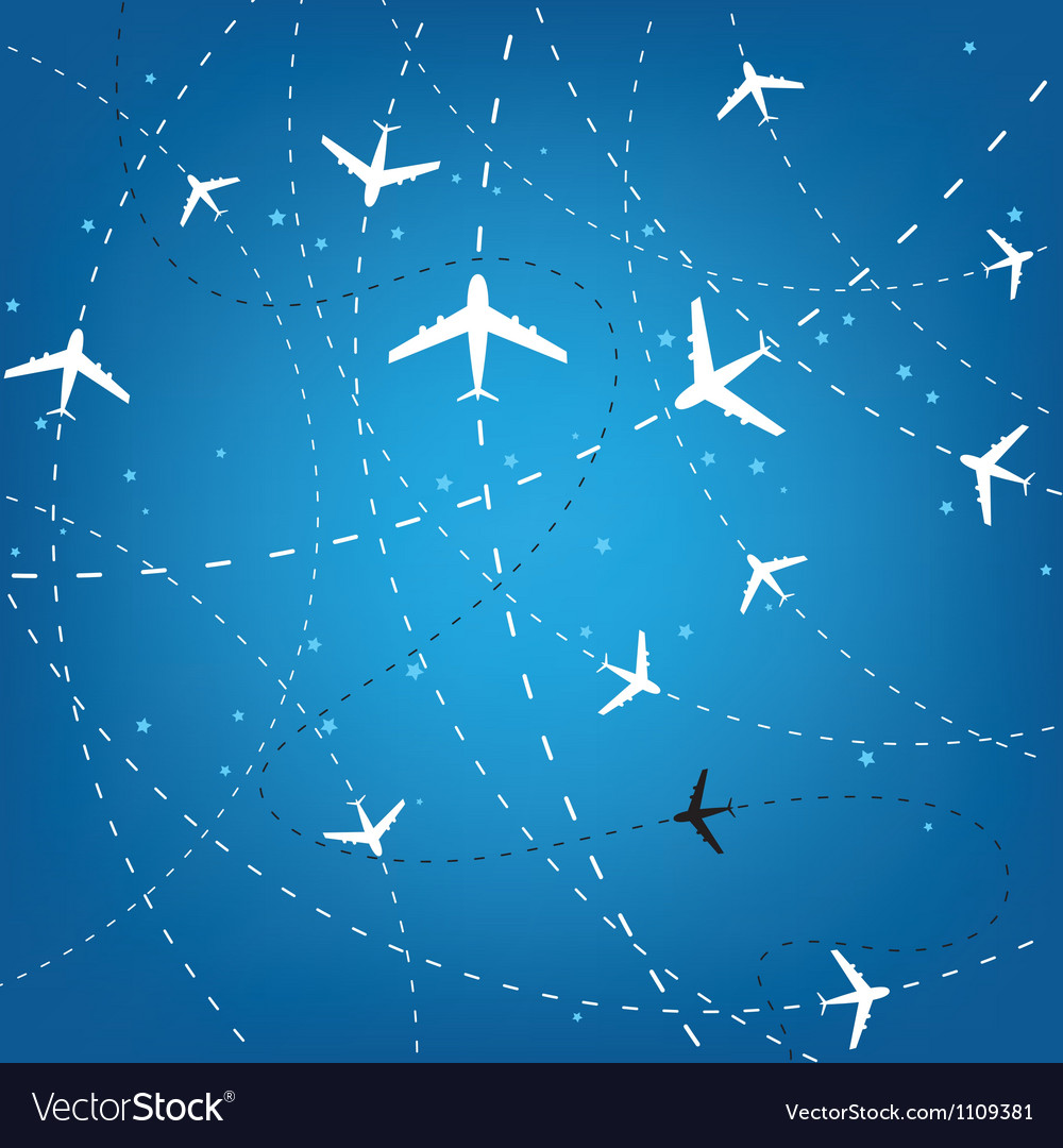 Airplane routes and stars vector