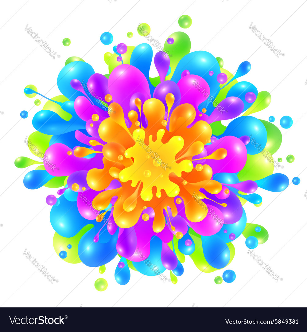 Rainbow colors paint splash on white background vector