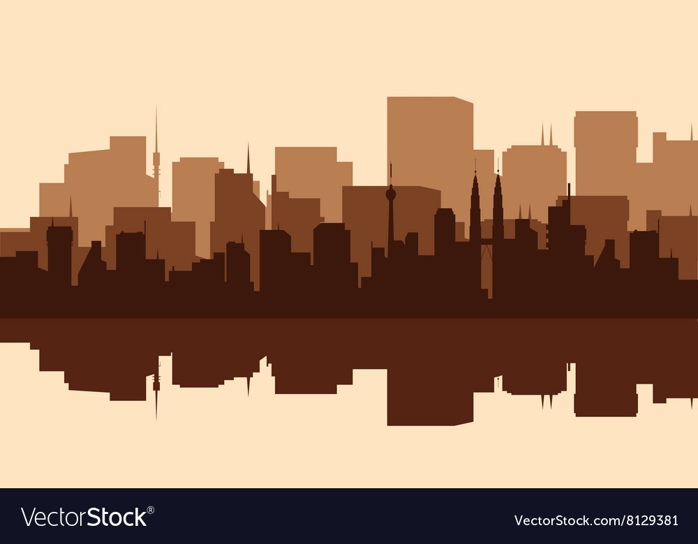 Silhouette of the city with towers vector