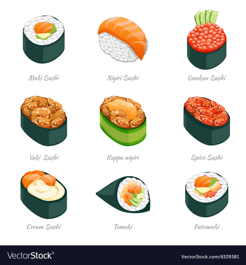 Sushi rolls icons vector