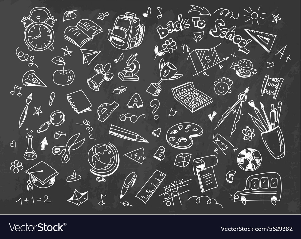 Back to school drawing background on chalkboard vector