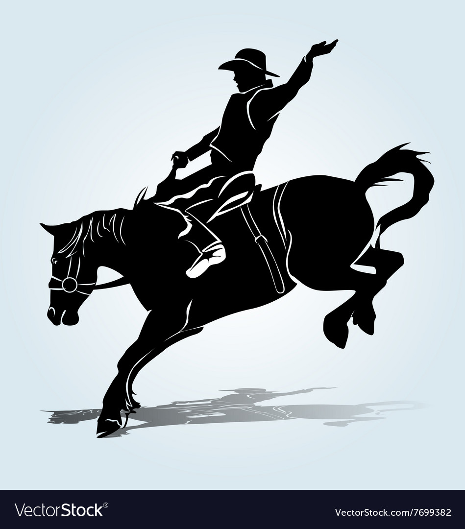 Silhouette of a rodeo rider vector