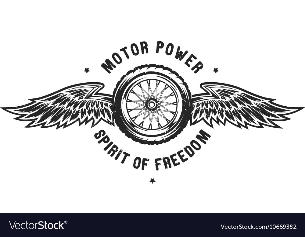 Wheel and wings the spirit of freedom vector