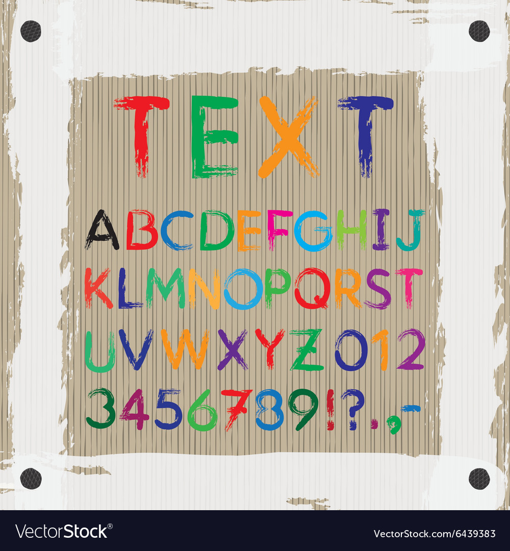 Board for text and images font alphabet vector