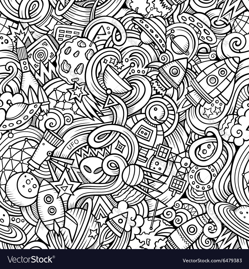Cartoon handdrawn doodles on the subject of space vector