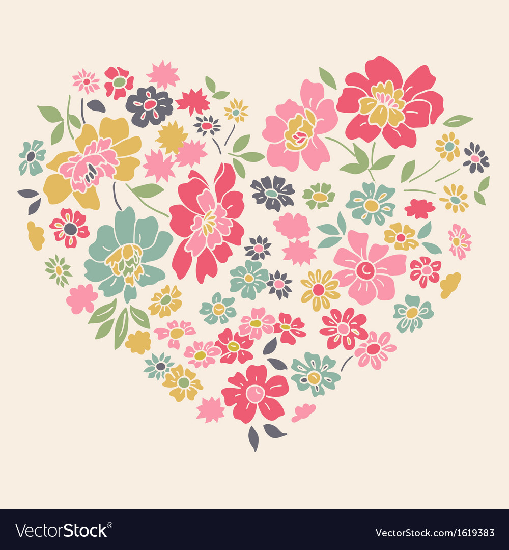 Romantic card with floral heart vector