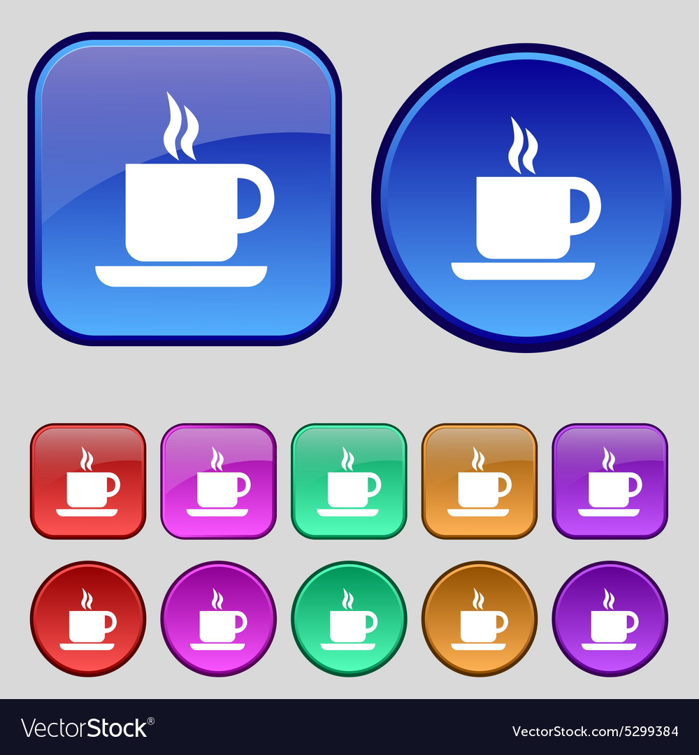 Coffee icon sign a set of twelve vintage buttons vector