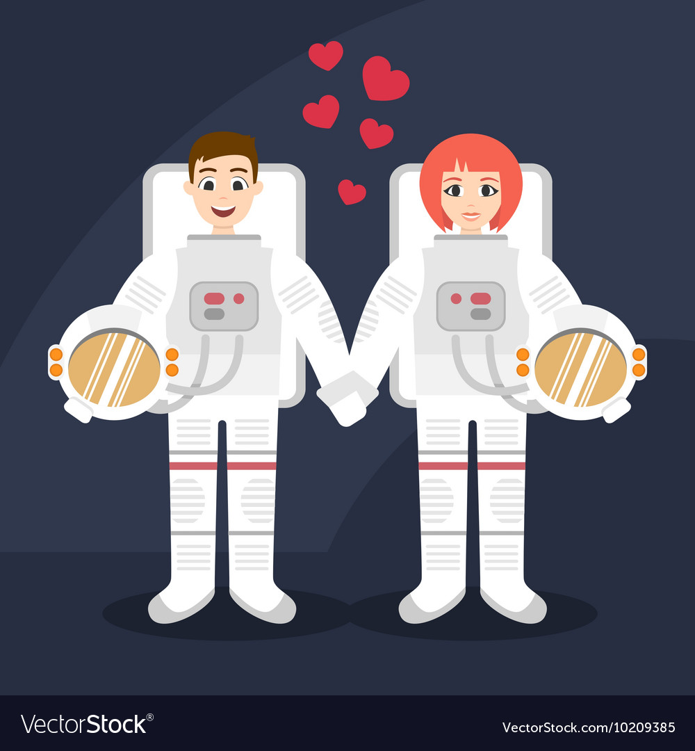 Astronauts couple in love holding hands vector
