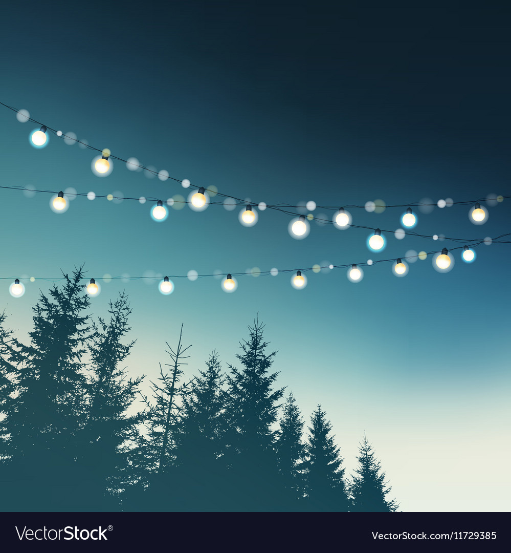 Hanging decorative holiday party lights christmas vector