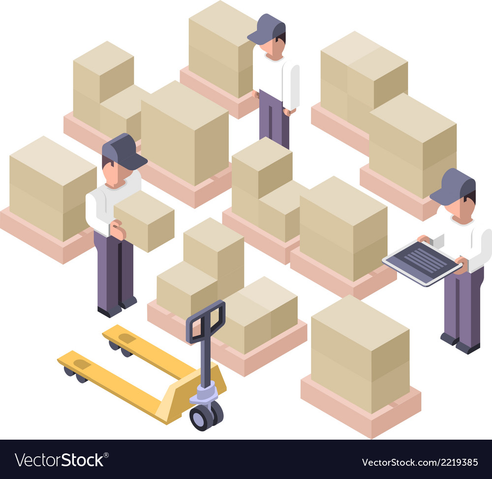 Warehouse working area distribution center vector