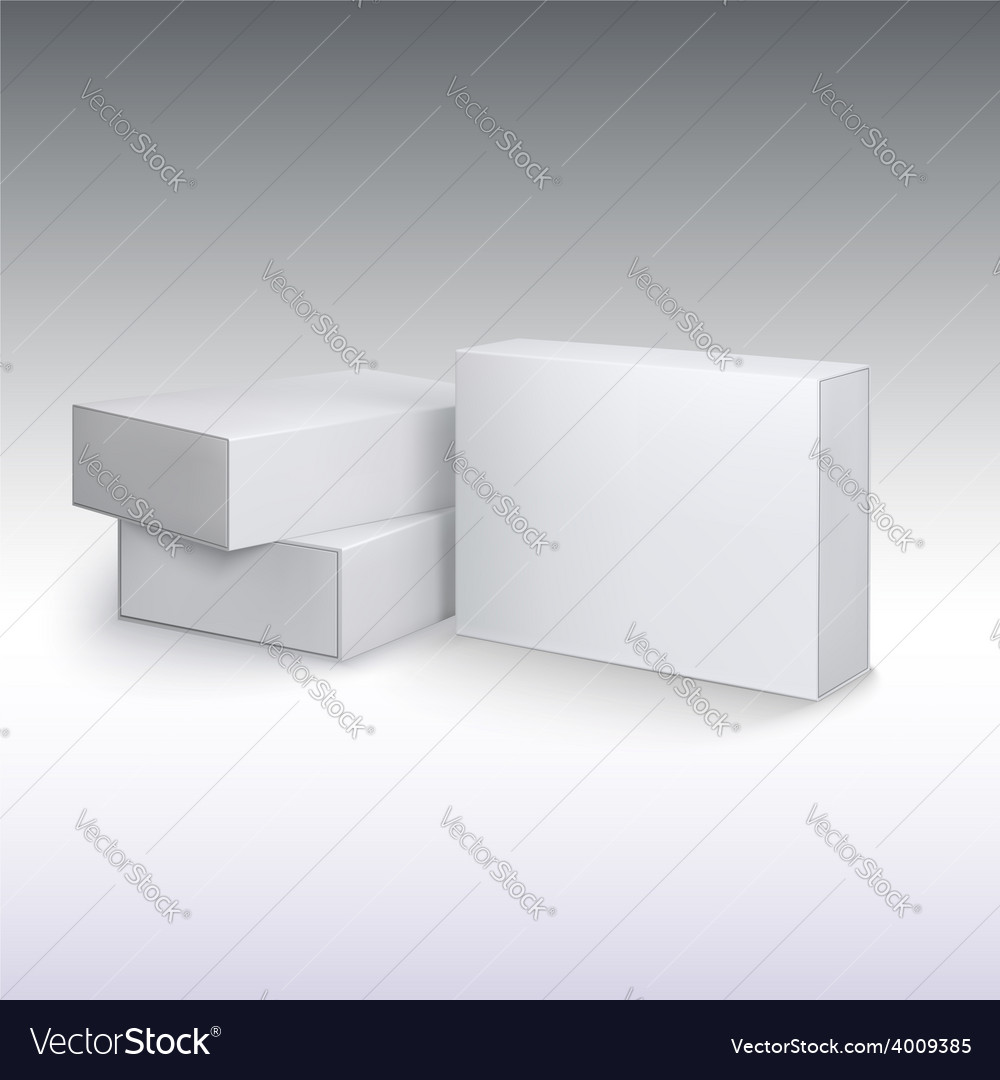White product cardboards package boxes mockup vector