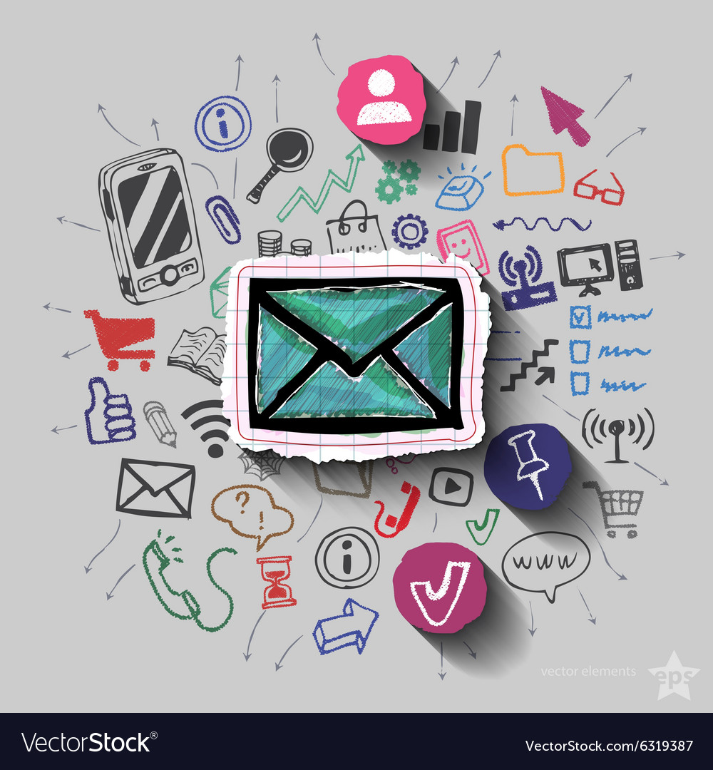 Envelope and collage with web icons background vector