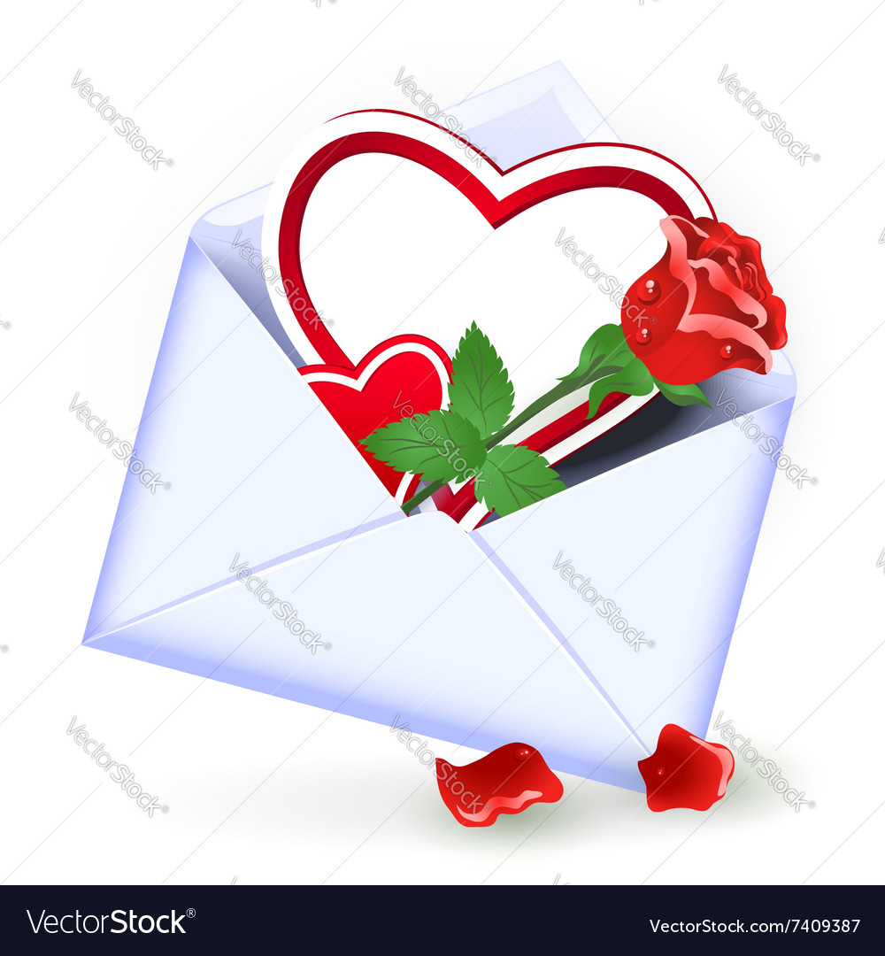 Envelope with valentine hearts vector