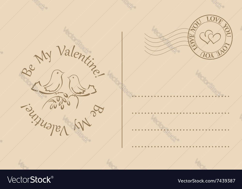 Postcard for valentines day  be my valentine vector