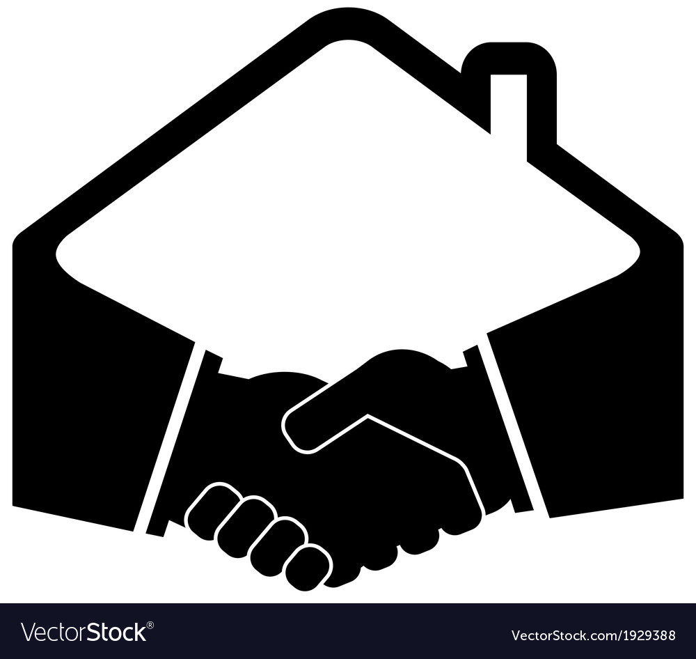 Black handshake icon vector
