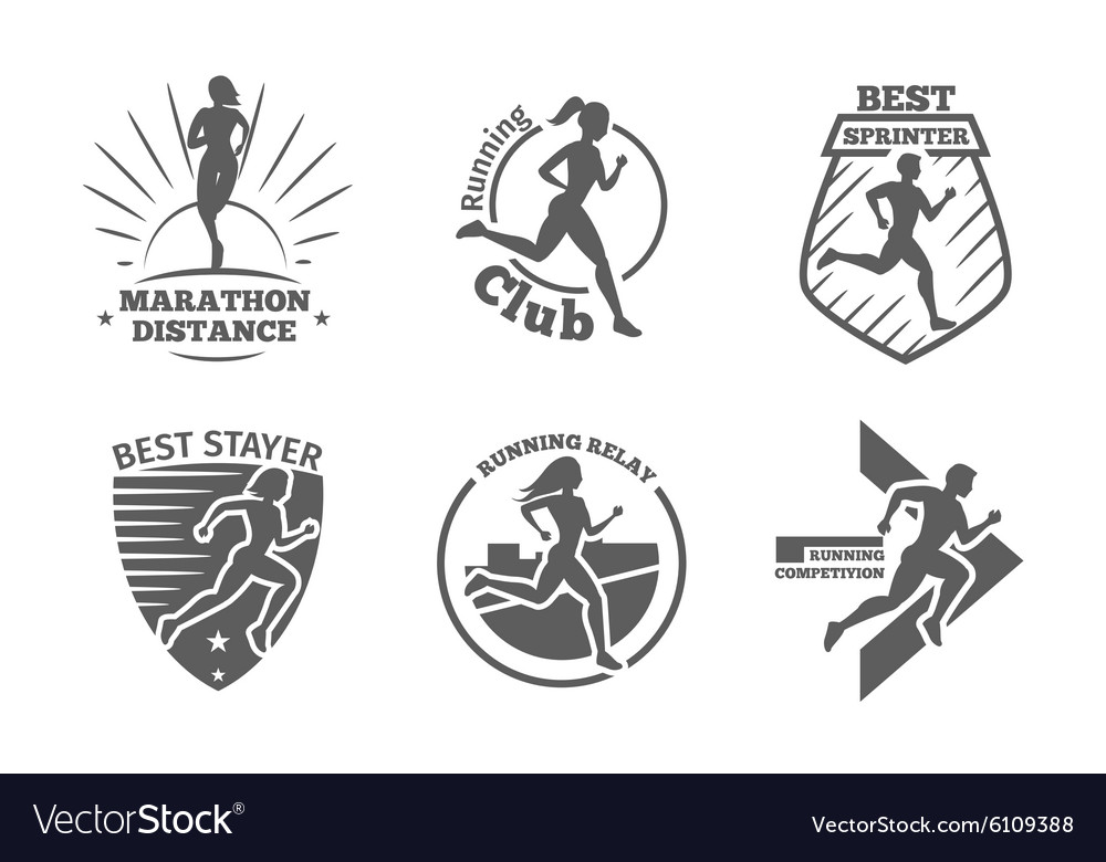 Vintage running club labels and emblems vector