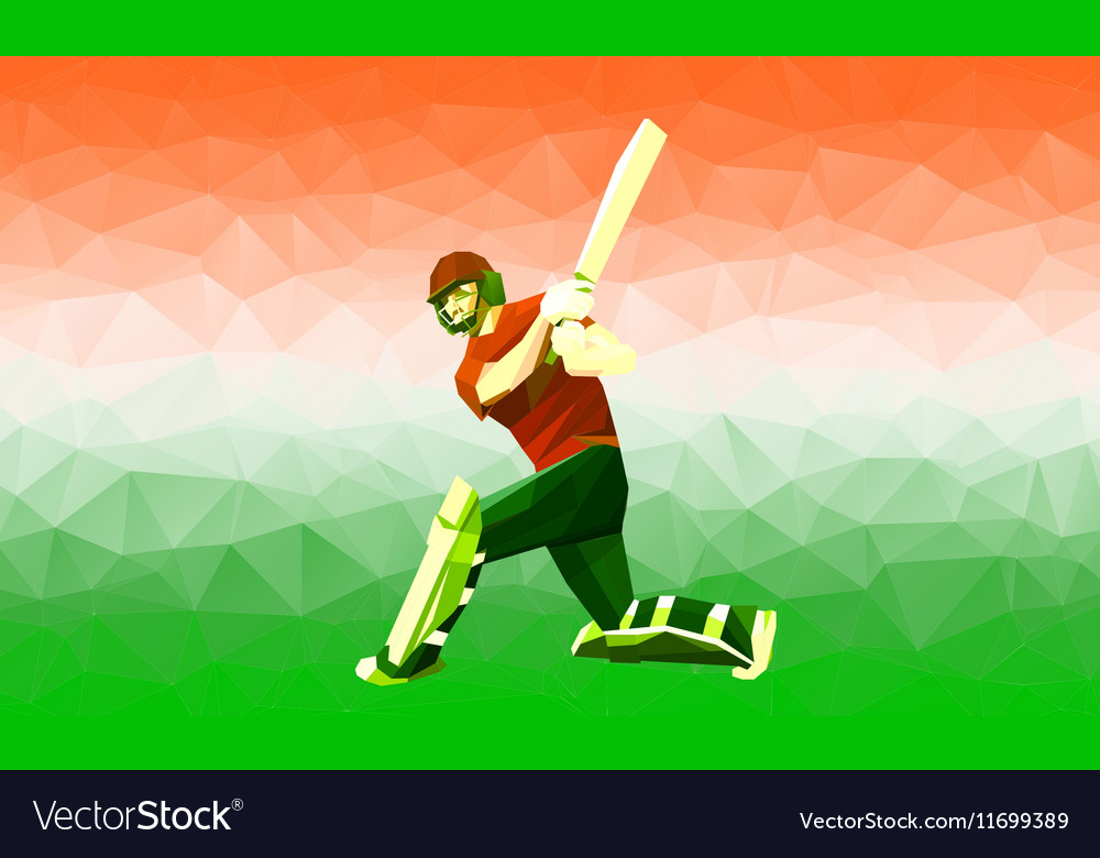 Abstract cricket player polygonal low poly vector