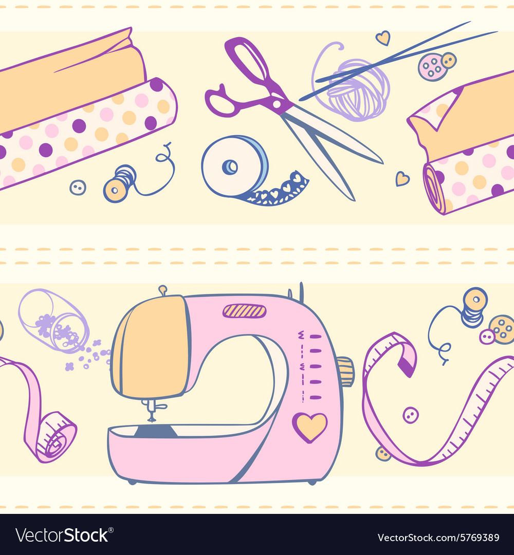Seamless pattern of items for sewing and crafts vector