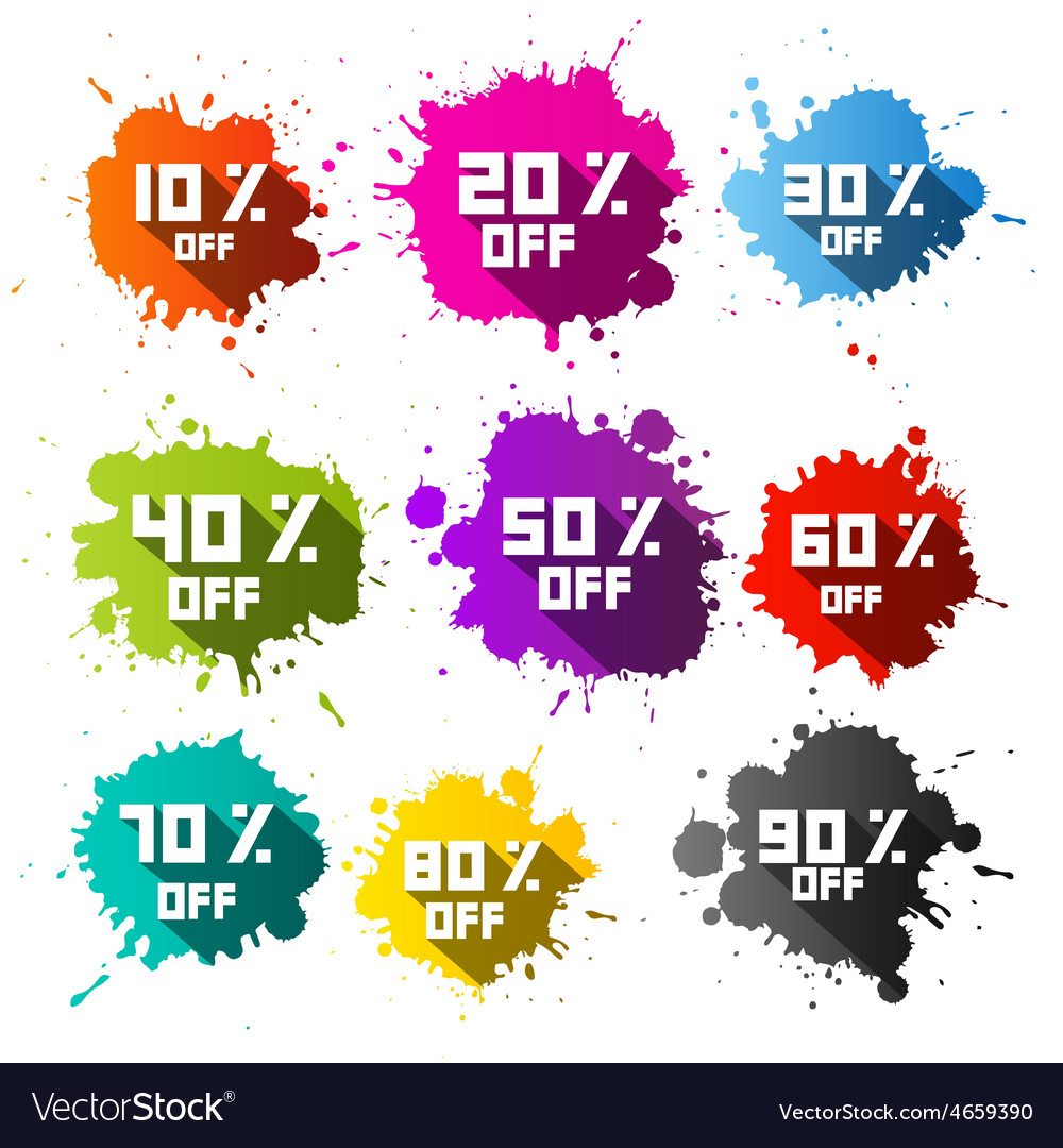 Colorful discount sale blots  splashes set vector