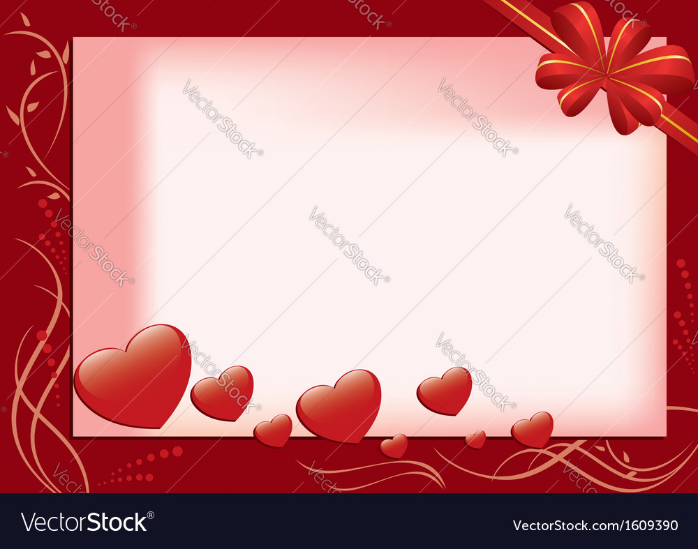 Red card with hearts and flora vector