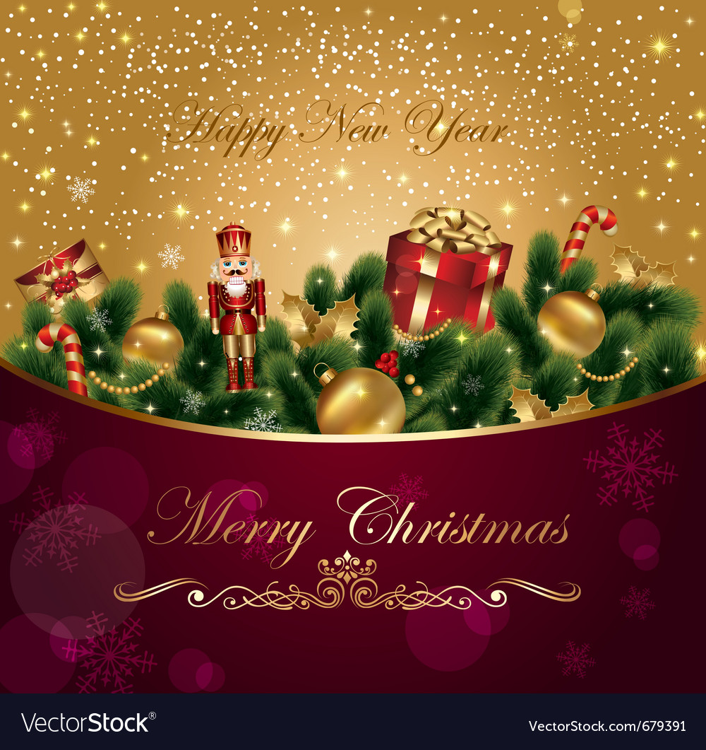 Christmas card with fir and gifts vector