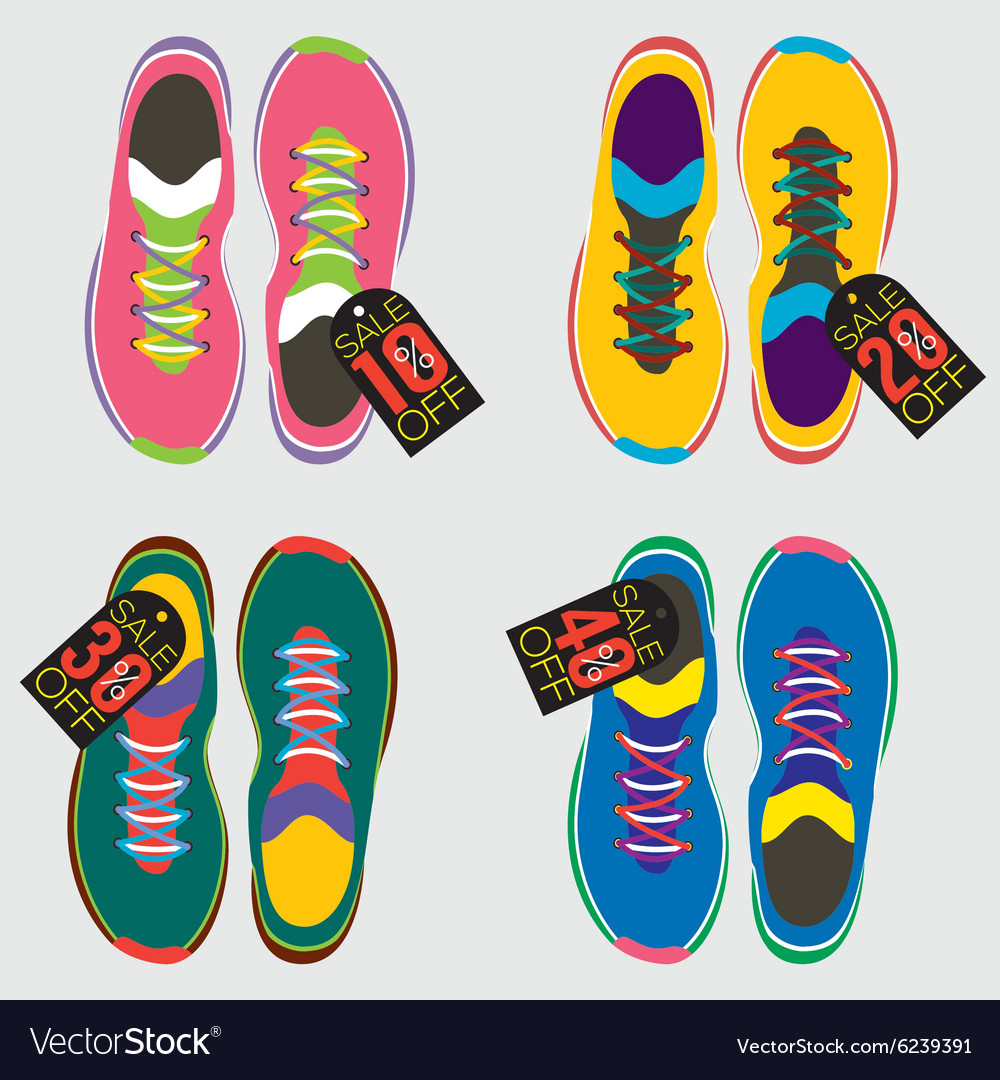 Top view of running shoes vector