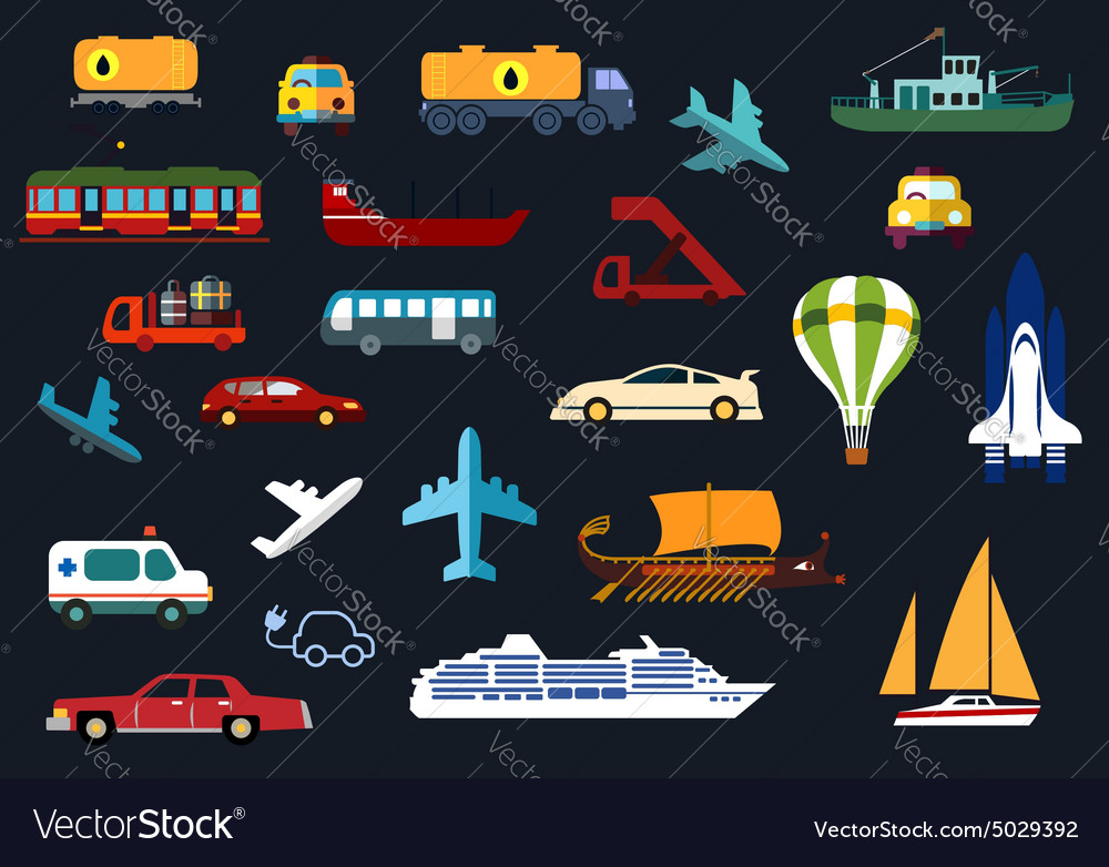Flat icons with road water rail air transport vector