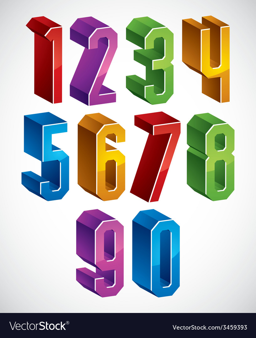 3d geometric numbers set in blue and green colors vector
