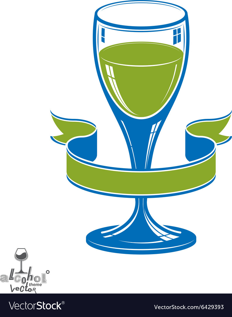 Alcohol theme art festive goblet with decor vector