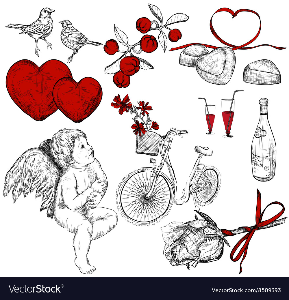 Hand drawn sketch of valentine icons vector