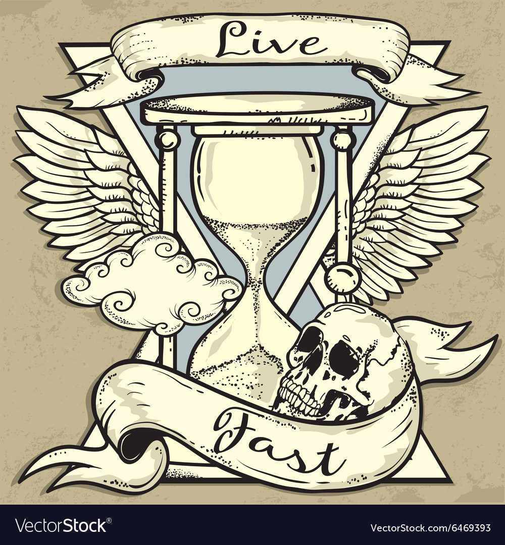 Hourglass and skull tattoo design vector