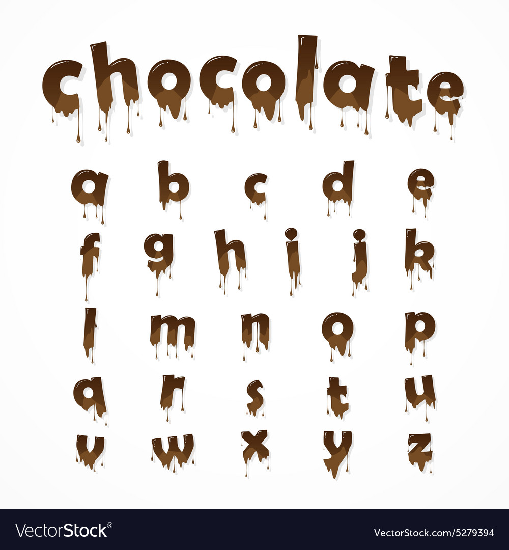 Melted chocolate alphabet vector